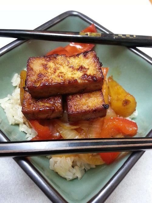Sweet & Sour Marinated Tofu over Brown Rice | Marinated ...