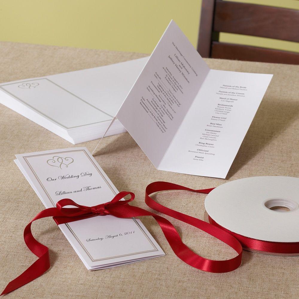 Platinum hearts wedding program diy kit exclusivelyweddings