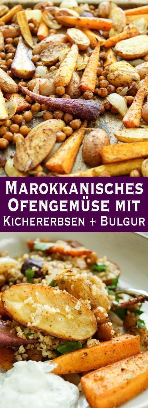 Marokkanisches Ofengemüse mit Kichererbsen Rezept | Elle Republic #babaganoushrezept
