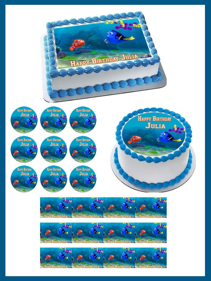 Finding Dory Edible Birthday Cake Topper OR Cupcake Topper ...