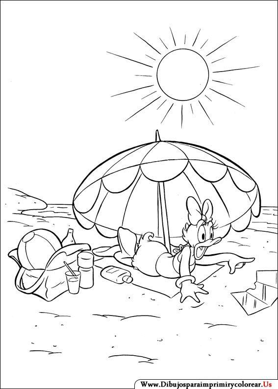 Daisy Duck. Disney Coloring Page. Dibujos de Daisy para Imprimir y ...