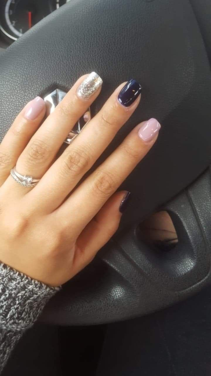 Pin By Katie West On Nailzzzzz Silver Nails Blue And Silver Nails Gel Nails