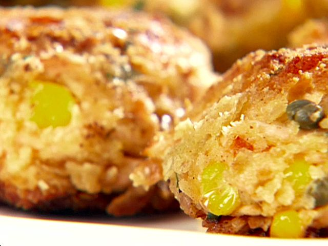 Salmon Cakes with Lemon-Caper Yogurt Sauce Recipe : Giada De Laurentiis : Food Network - FoodNetwork.com