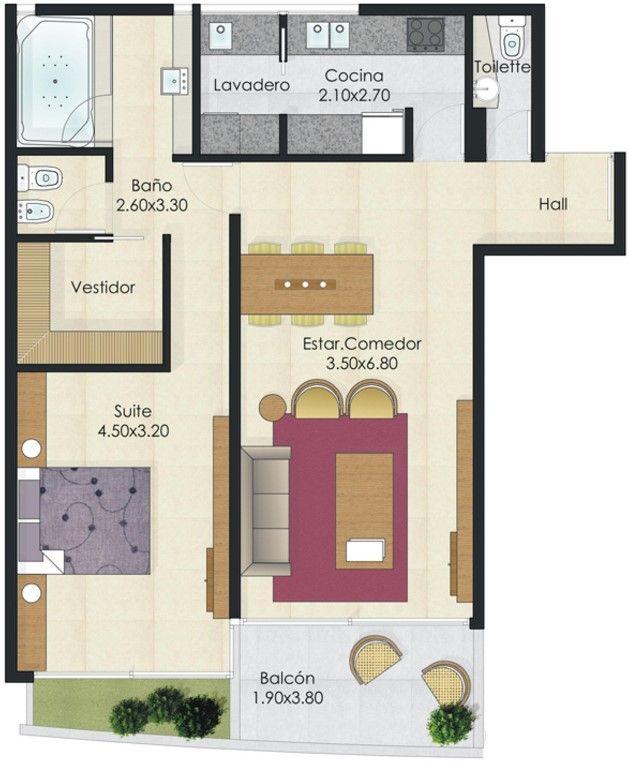 plano moderno de 1 habitaci n casas pinterest tiny