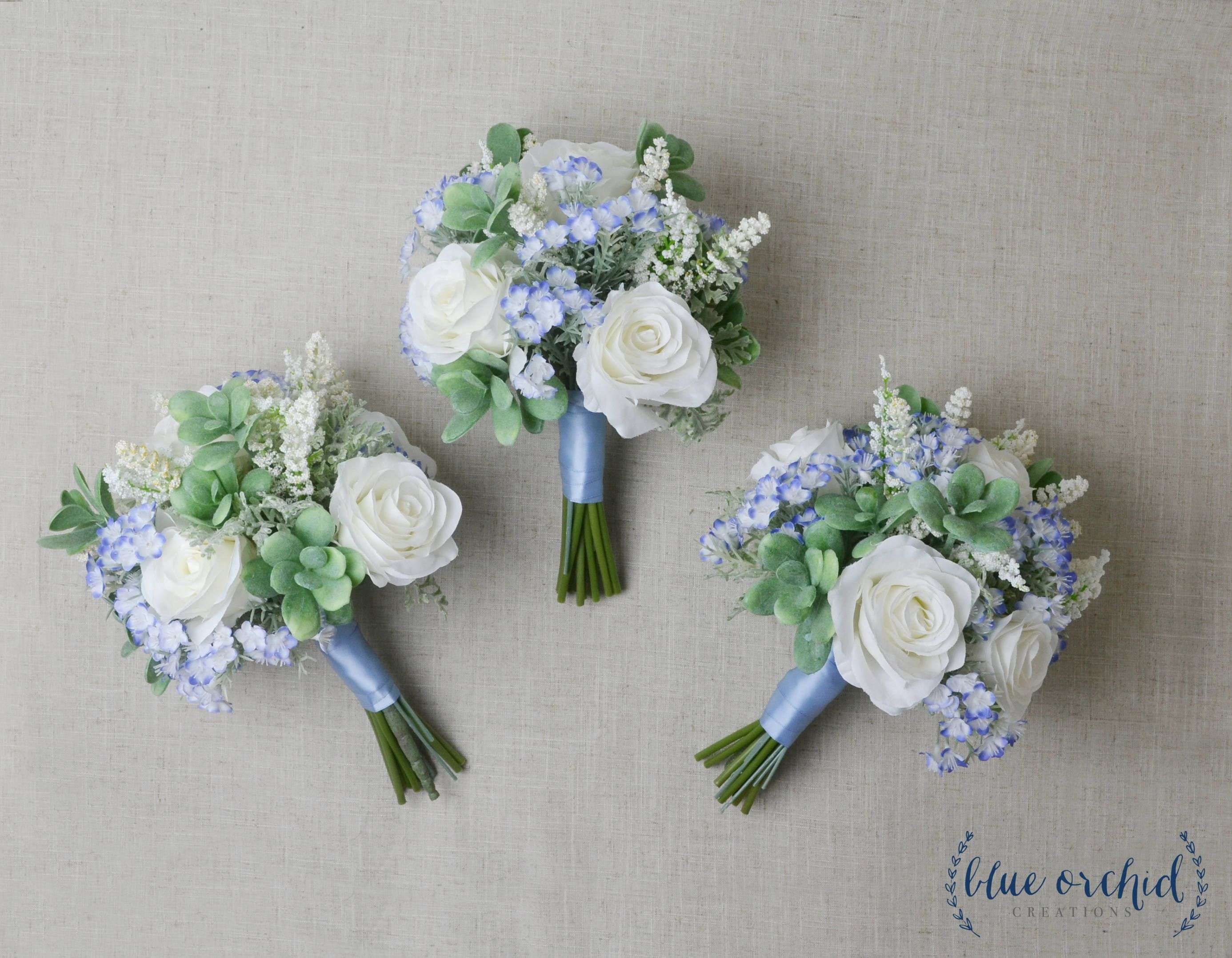 Bridesmaid Bouquet, Succulent Bouquet, Wedding Bouquet, Light Blue ...