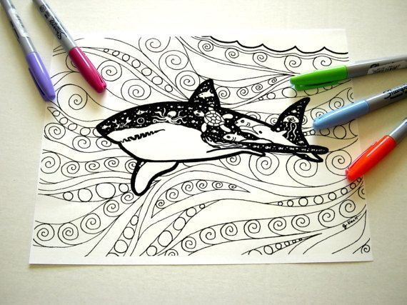 Coloring Pages Sharks : Great white shark coloring page for adult. shark ocean waves