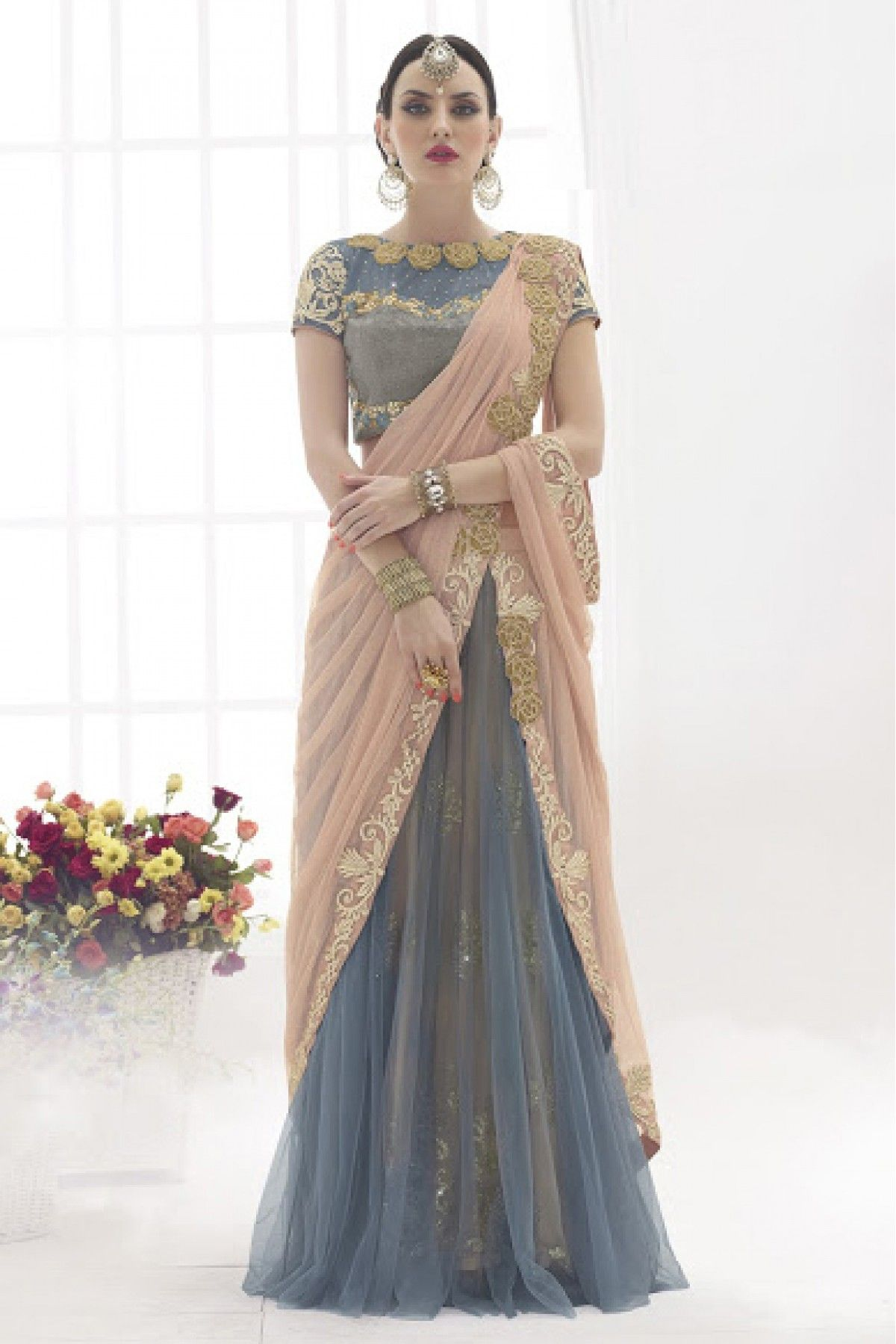 930cf44b7f Peach and Grey Colour Net Fabric Party Wear Lehenga Saree Comes With  Matching…