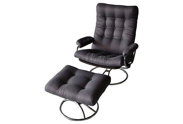$1195.00 Recliner And Ottoman From Norway, By Ekornes. Very Comfortable.  Newly Reupholstered In