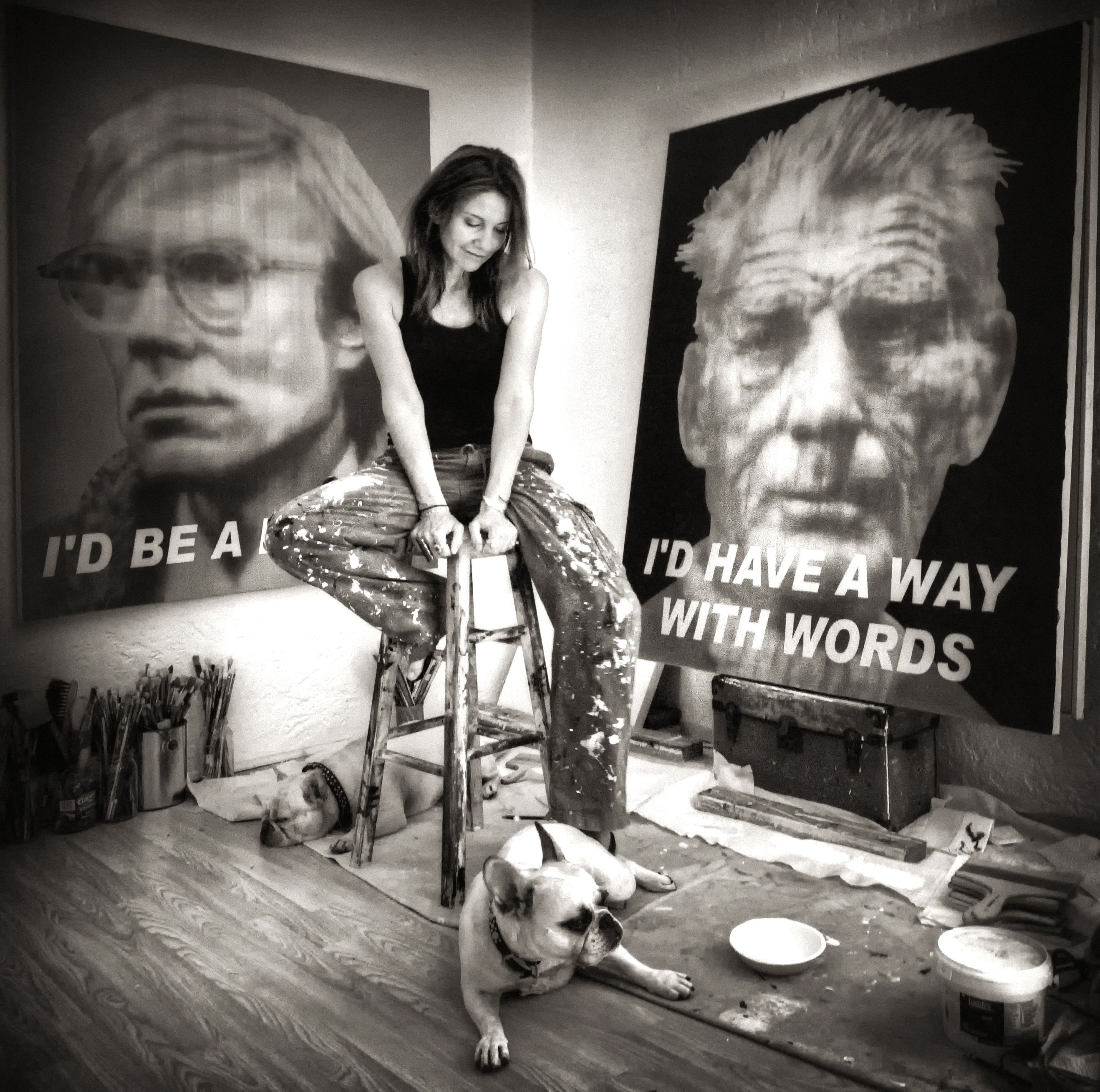 Alison Van Pelt w/Andy Warhol and Samuel Beckett, oil and acrylic on canvas, 5ft x 4ft