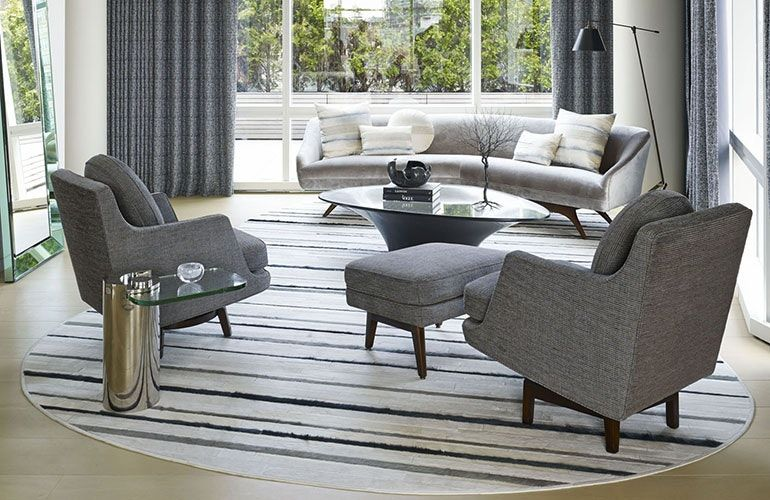 Chairish round rug living room furniture design