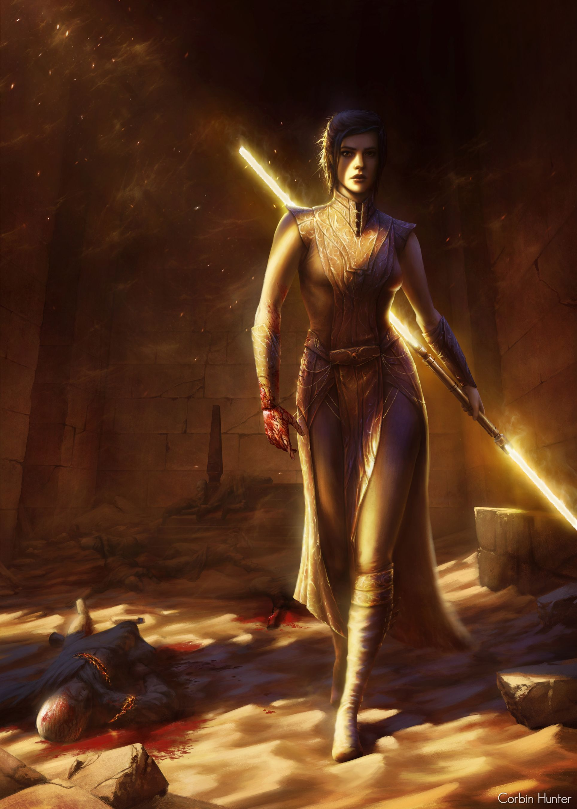 Stunning Painting Of Bastila Shan From Star Wars With Images Star Wars Illustration Star Wars The Old Star Wars Artwork