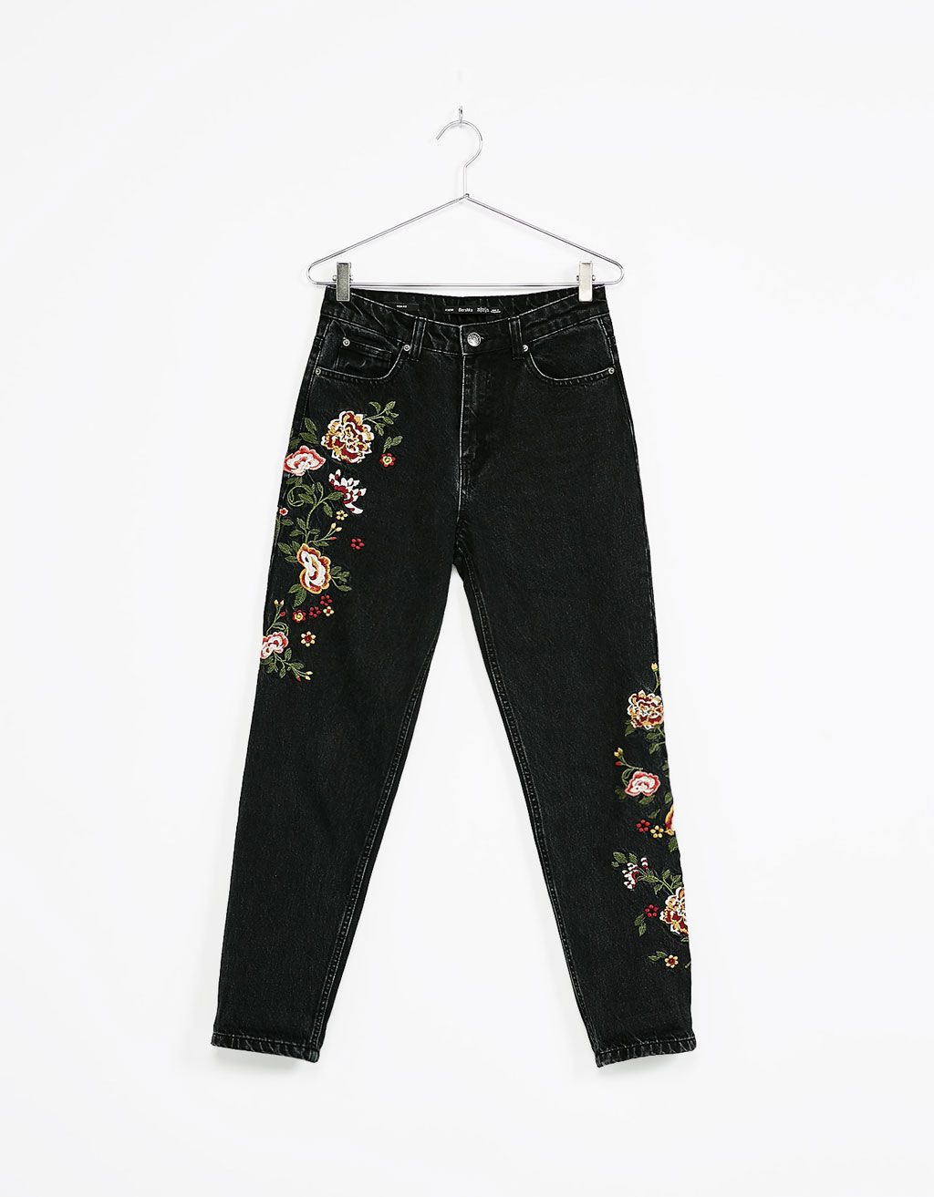 buy popular d86f7 f38ca High waist embroidered jeans - Embroidery - Bershka Ukraine