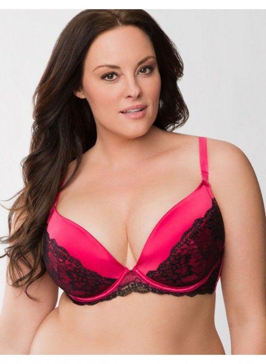 Plus Size Satin push up plunge bra with lace – - Women's Size 40DD ...