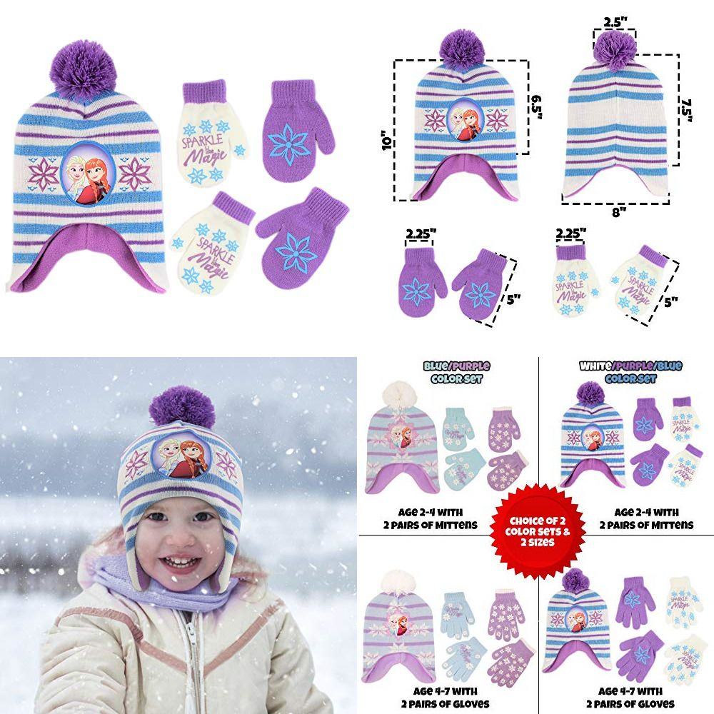 Toddler Girls Age 2-4 Disney Frozen Hat and Mittens Cold Weather Set
