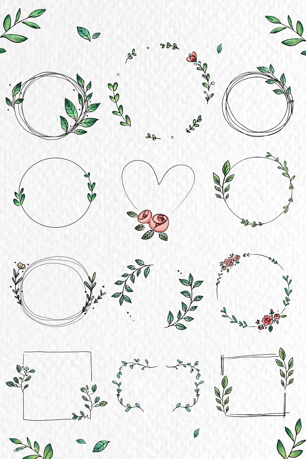 Download premium vector of Doodle floral wreath vector collection 843818