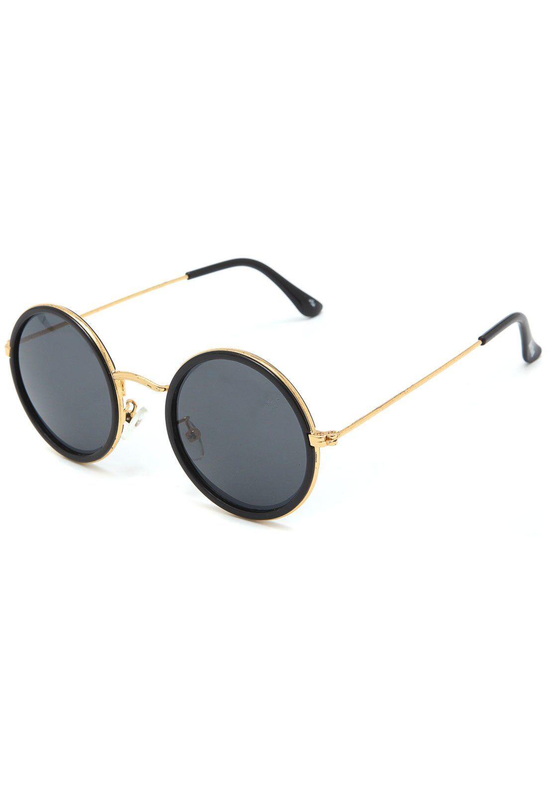 Oculos De Sol Doc Dog Redondo Dourado Preto Em 2020 Oculos