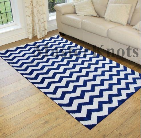 Brand New Chevron Zig Zag Blue 10x14 14x10 Handmade Wool Area Rug Carpet