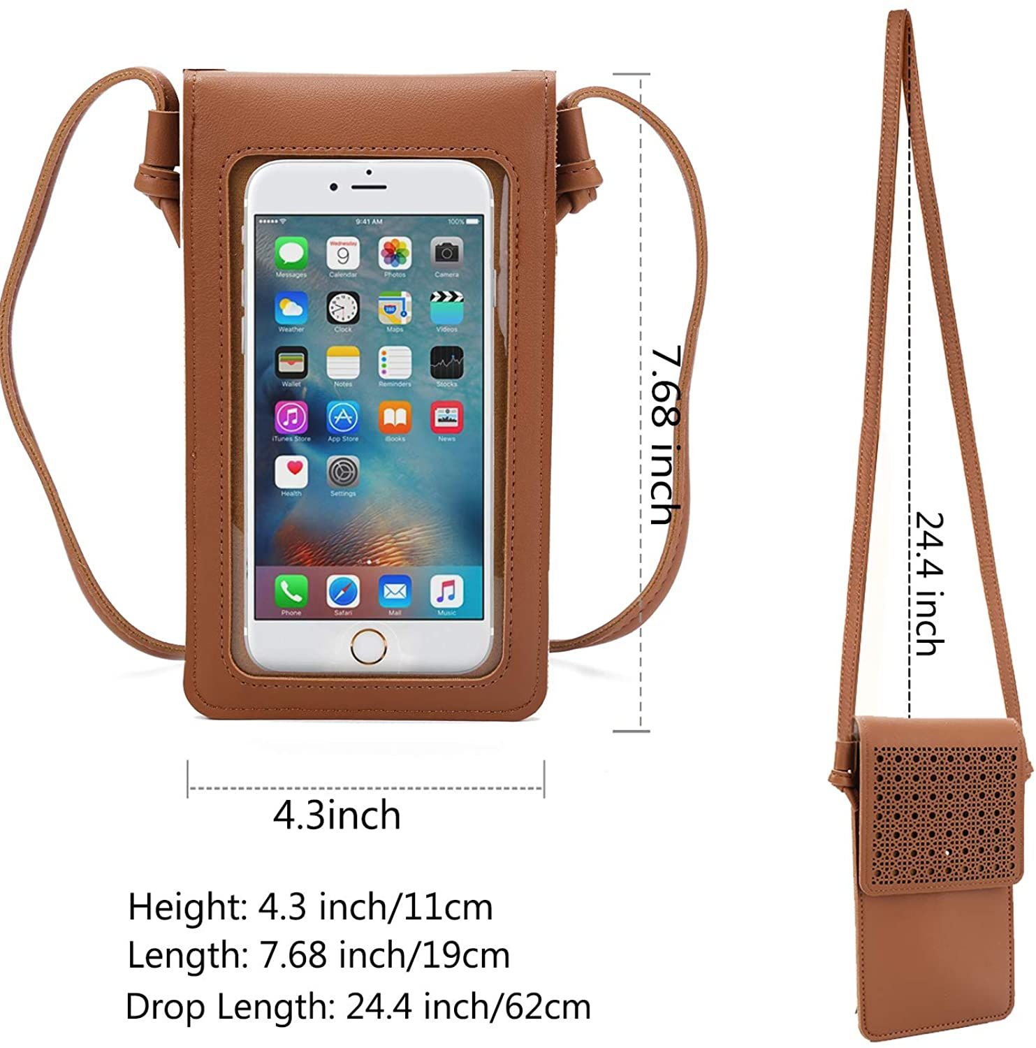 Waterproof Leather Hollow Touch Screen Purse With Clear Window Brown 4fairdeal Clear Windows Purses Touch Screen