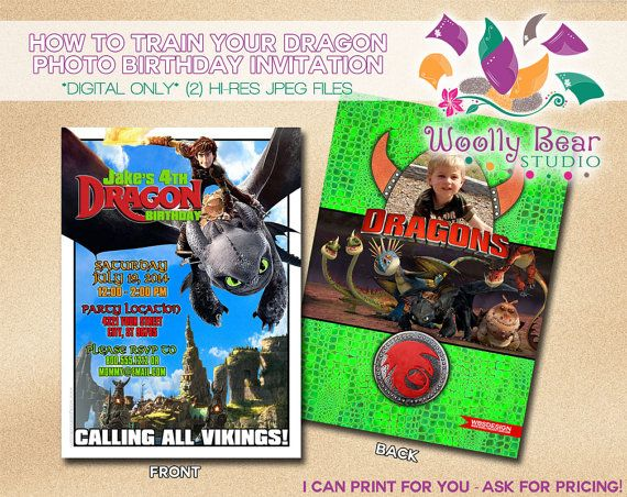 Printable How To Train Your Dragon Photo Birthday Invitation by WoollyBearStudio, $14.99