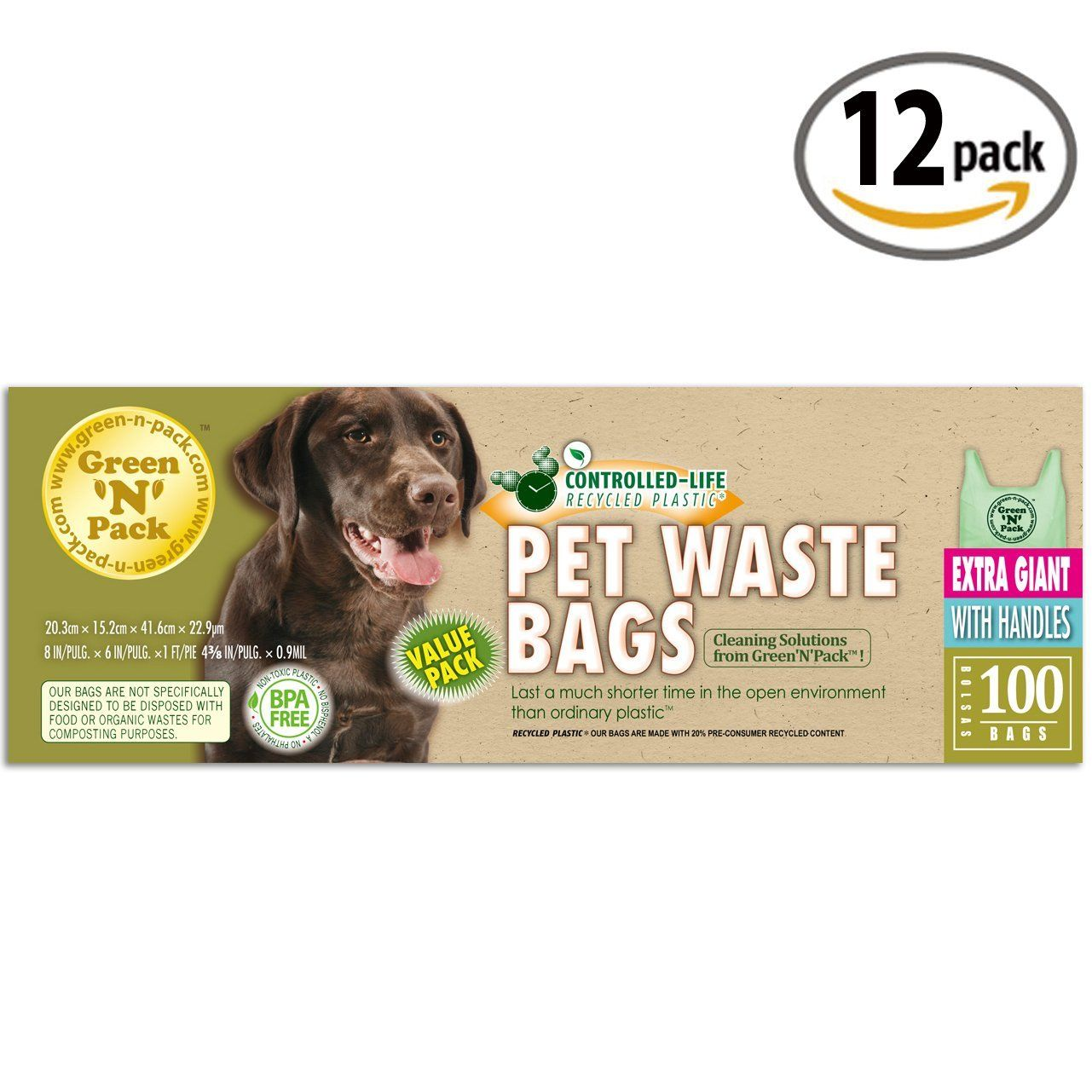 2d53d83e8873 Green'N'Pack Extra Large and Heavy Duty Bags for Dog Waste, Cat ...