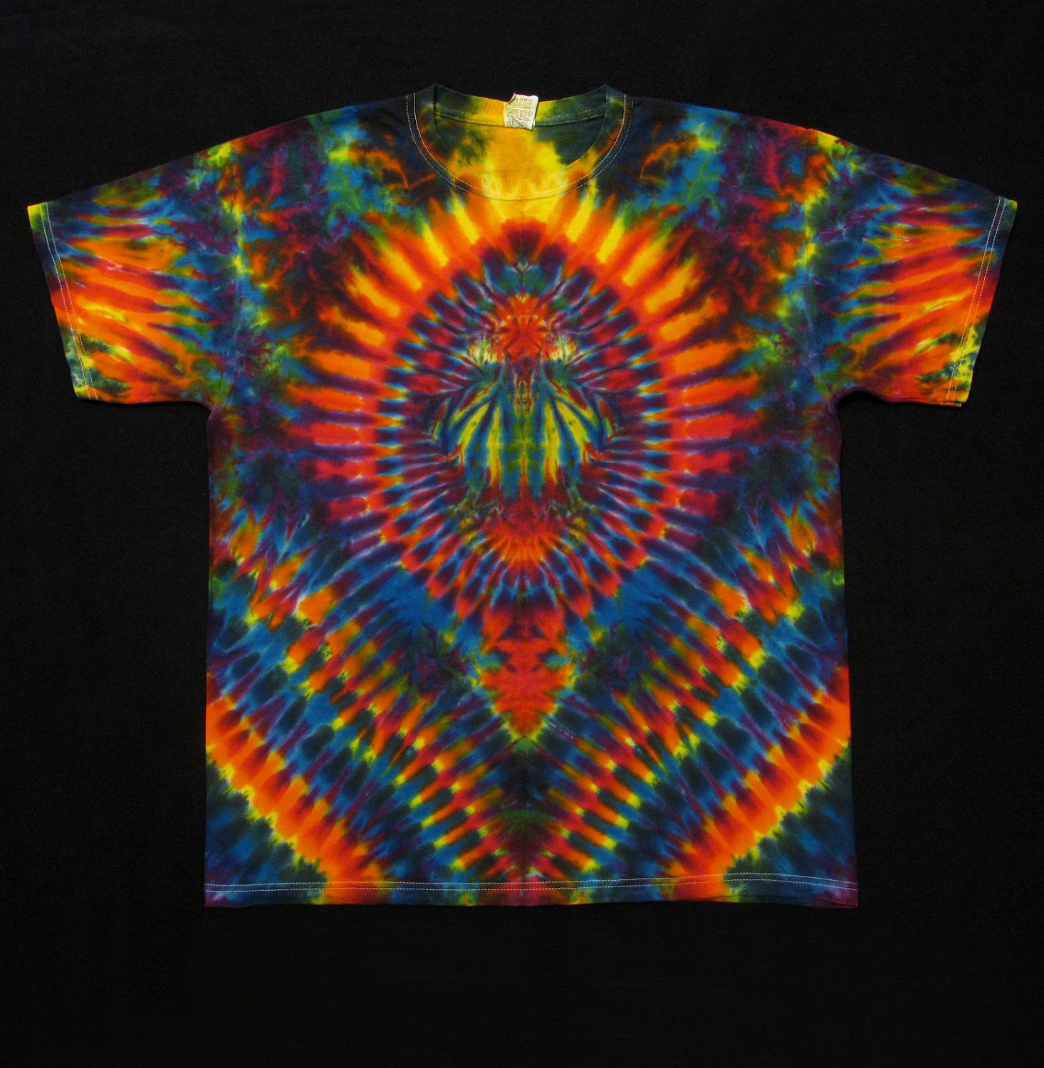 Tie Dye T Shirt Short Sleeved Psychedelic Scarab Hippie Art Trippy