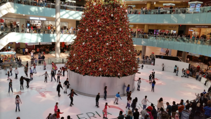 Ice Skate Around The Country S Largest Christmas Tree At The Dallas Galleria In Texas Large Christmas Tree Christmas Farm Gingerbread House Decorations