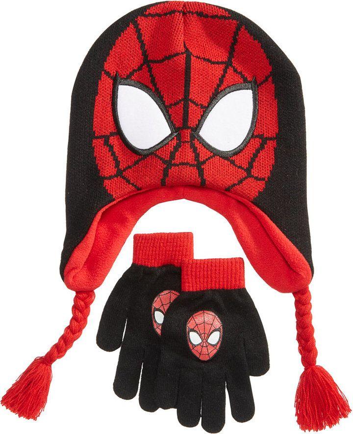 Spider Man Little Boys Toddler Beanie Hat and Mittens Set