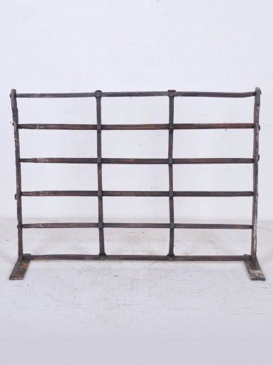 Antique Hand Forged Iron Reja Fireplace Screen Compositon