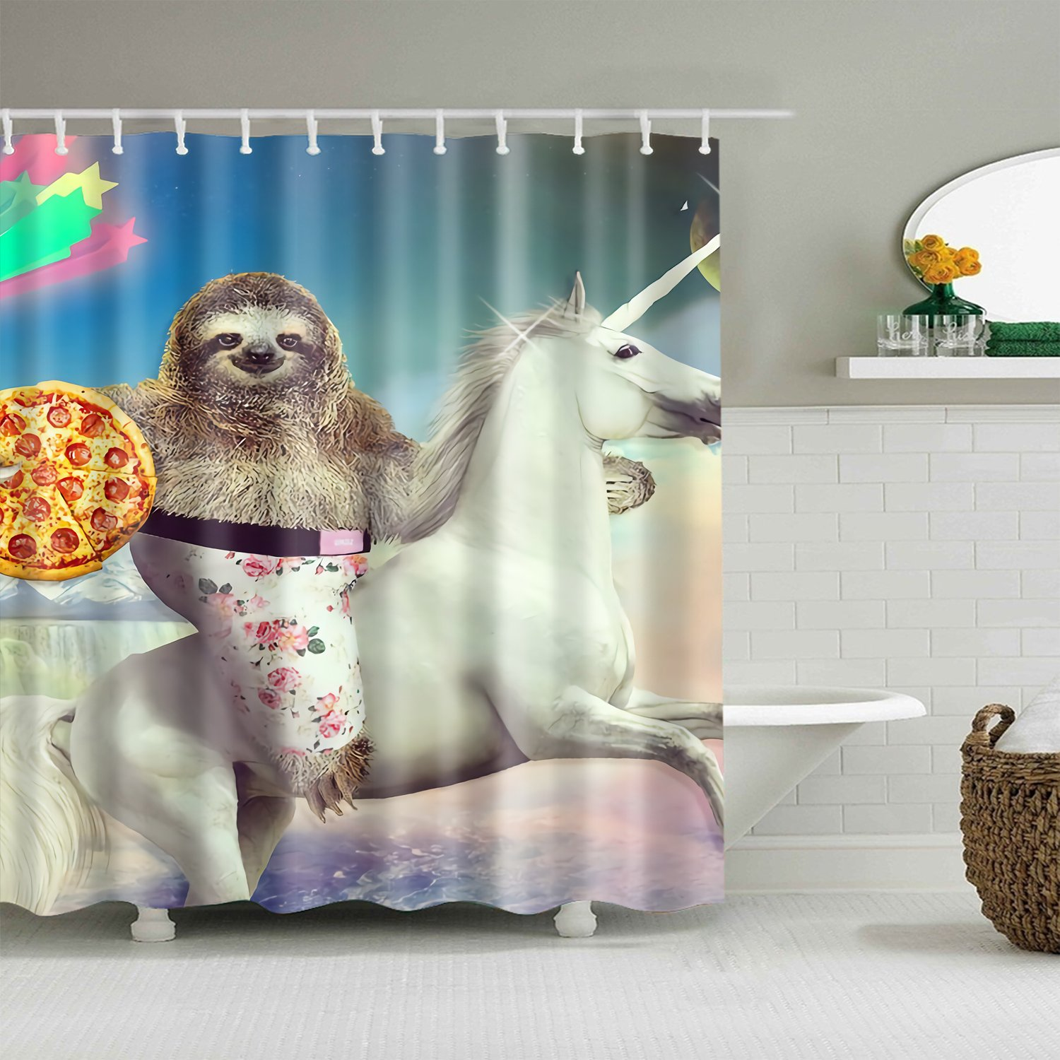 sloth pattern shower curtain fabric