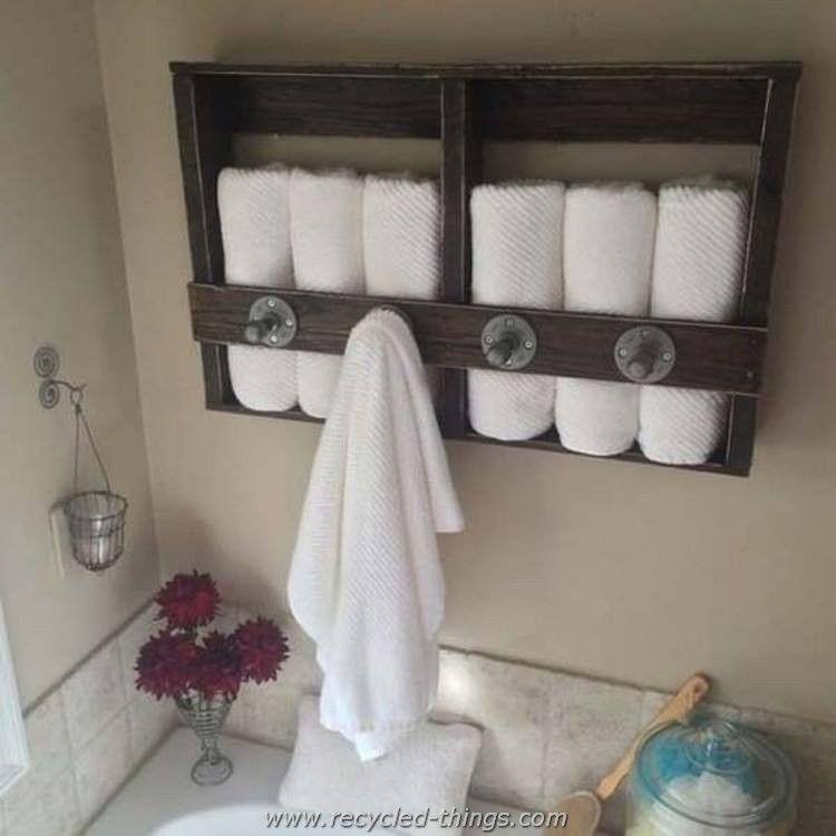 Recycled Wood Pallet Ideas Bathroom Towel Storage Pallet