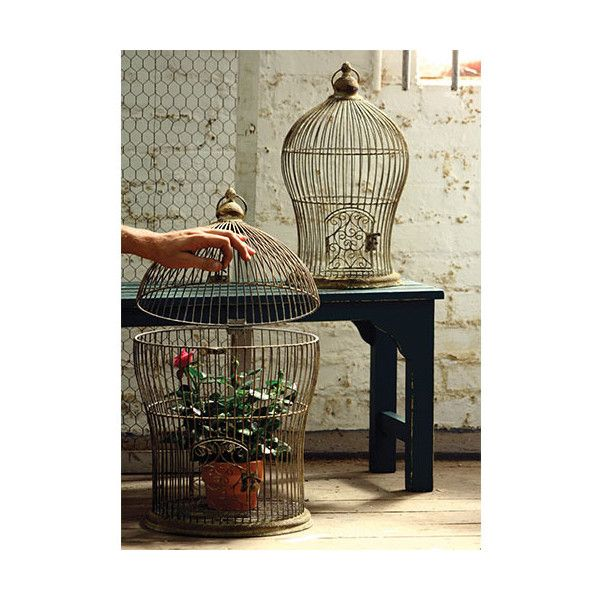Kalalou Antique Metal Nesting Wire Bird Cage, Set of 2 ($118) ❤ liked on Polyvore featuring home, home decor, metal home decor, antique home decor, metal birdcage, bird cage home decor y wire home decor