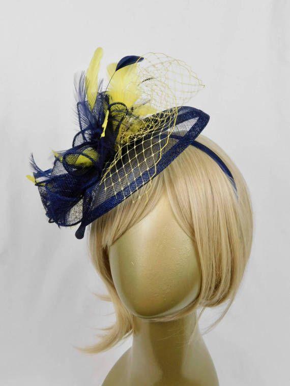 Navy Yellow Fascinator Women S Tea Party Hat Church Kentucky Derby