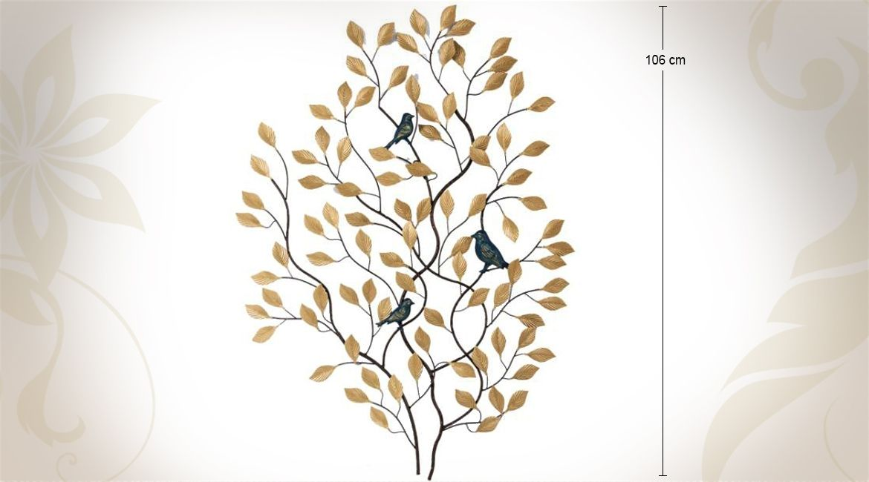 Décoration murale en métal buisson à feuillage doré avec oiseaux 106 cm