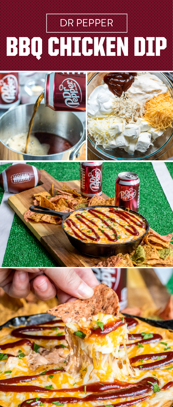 With a homemade Dr Pepper BBQ Sauce, melty cheese, and pulled chicken, this tailgate-ready recipe comes together in no time. Plus, you can create the ultimate game day appetizer ahead of time for easy party planning. Pick up Dr Pepper and all the other ingredients you'll need to try this dish today! #tailgatefood