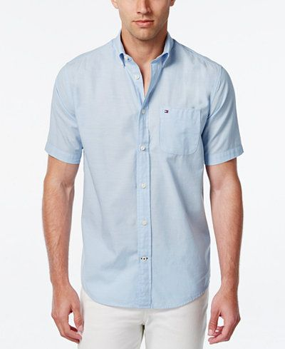 5531de623c08a7 Tommy Hilfiger Men s Wainwright Short-Sleeve Linen Shirt