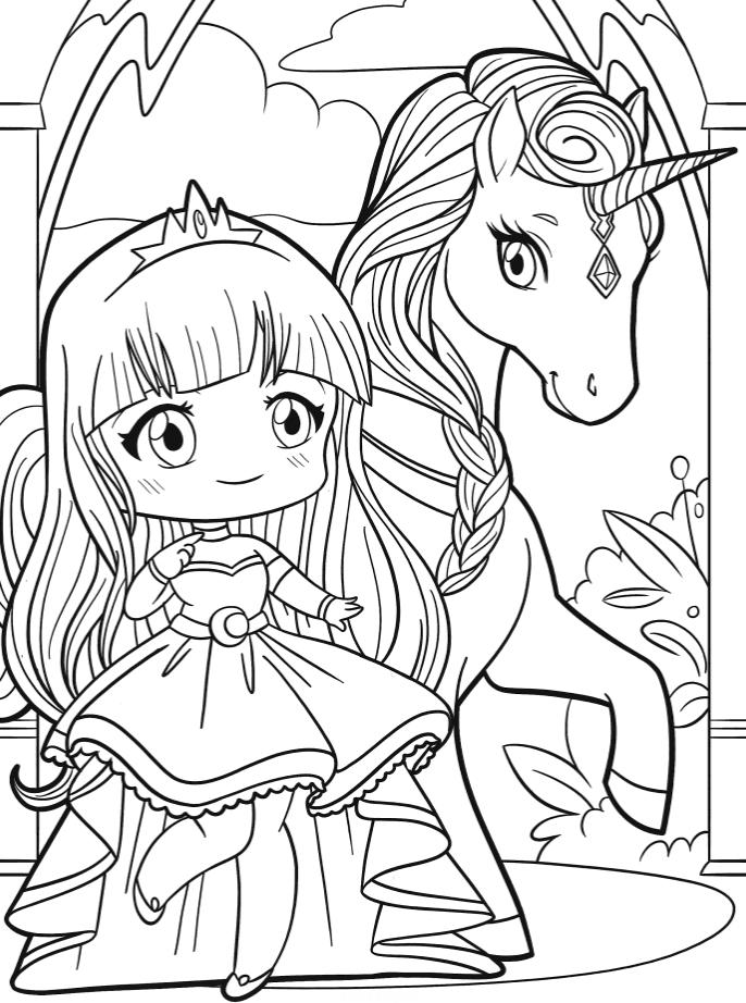 раскраски единороги единорог с принцессой аниме