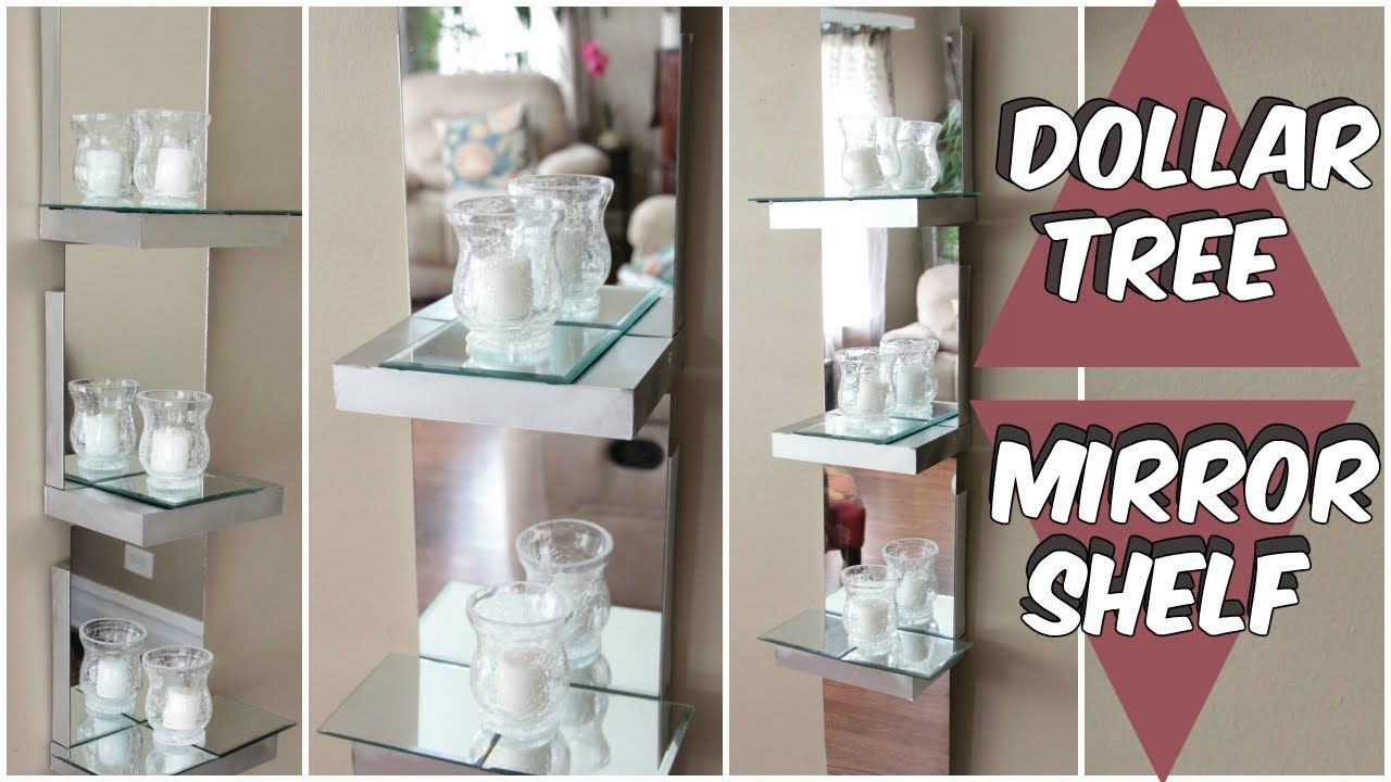 Dollar tree mirror shelf d i y tutorial youtube diy for Bathroom decor dollar tree