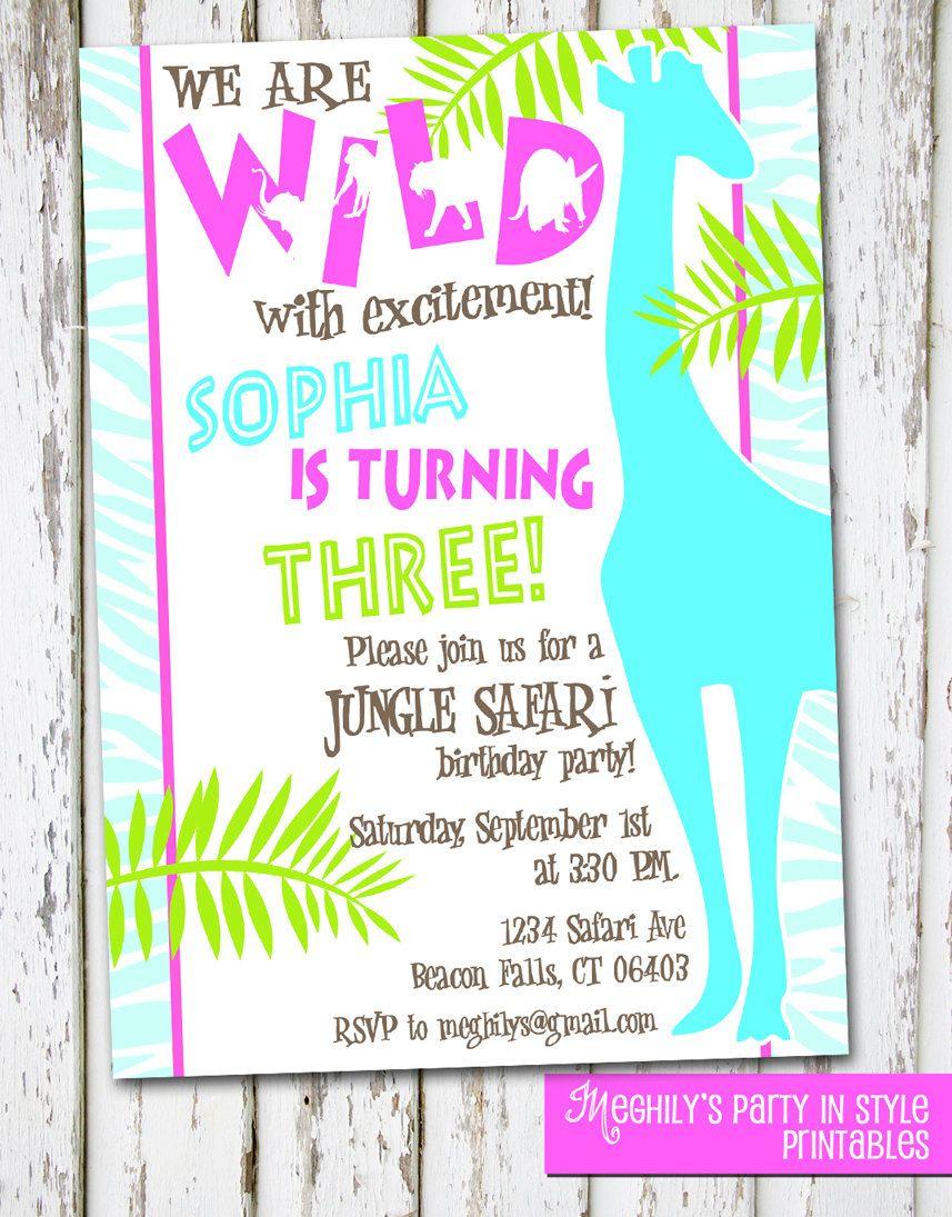 Jungle, Safari or Zoo Theme Birthday Invitation. $8.00, via Etsy ...