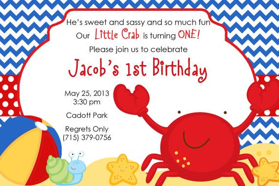 Crab Beach Theme Personalized Birthday by PartyCreations4u on Etsy – Beach Theme Party Invitations