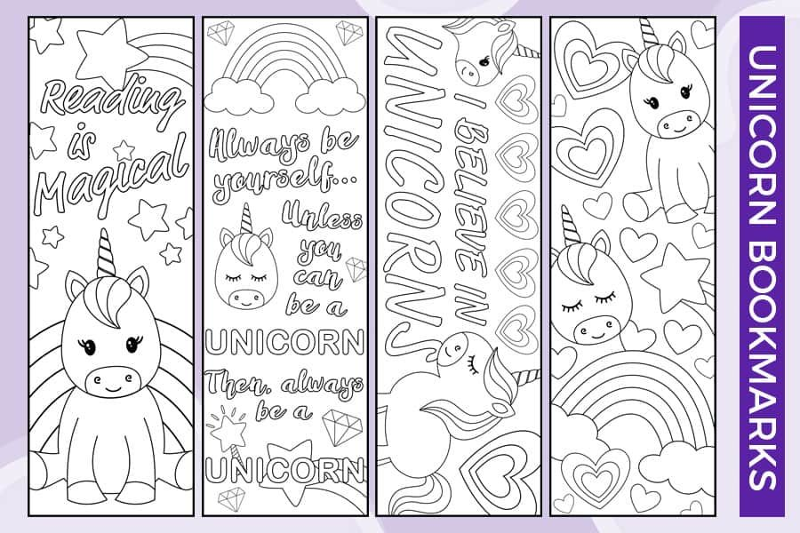 Free Printable Unicorn Bookmarks To Color Printable Valentine