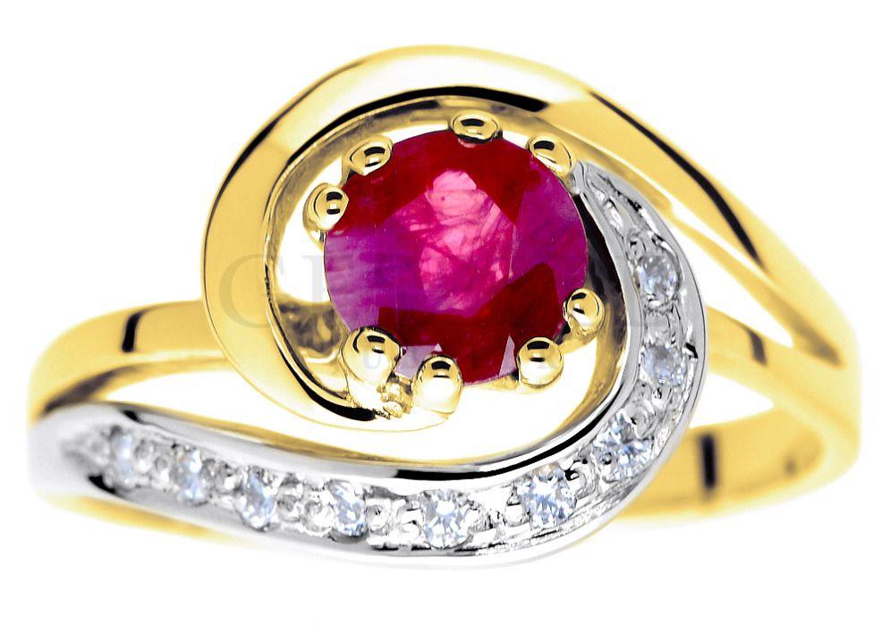 Symbol Miłości Oryginalny Pierścionek Zaręczynowy Z Rubinem I