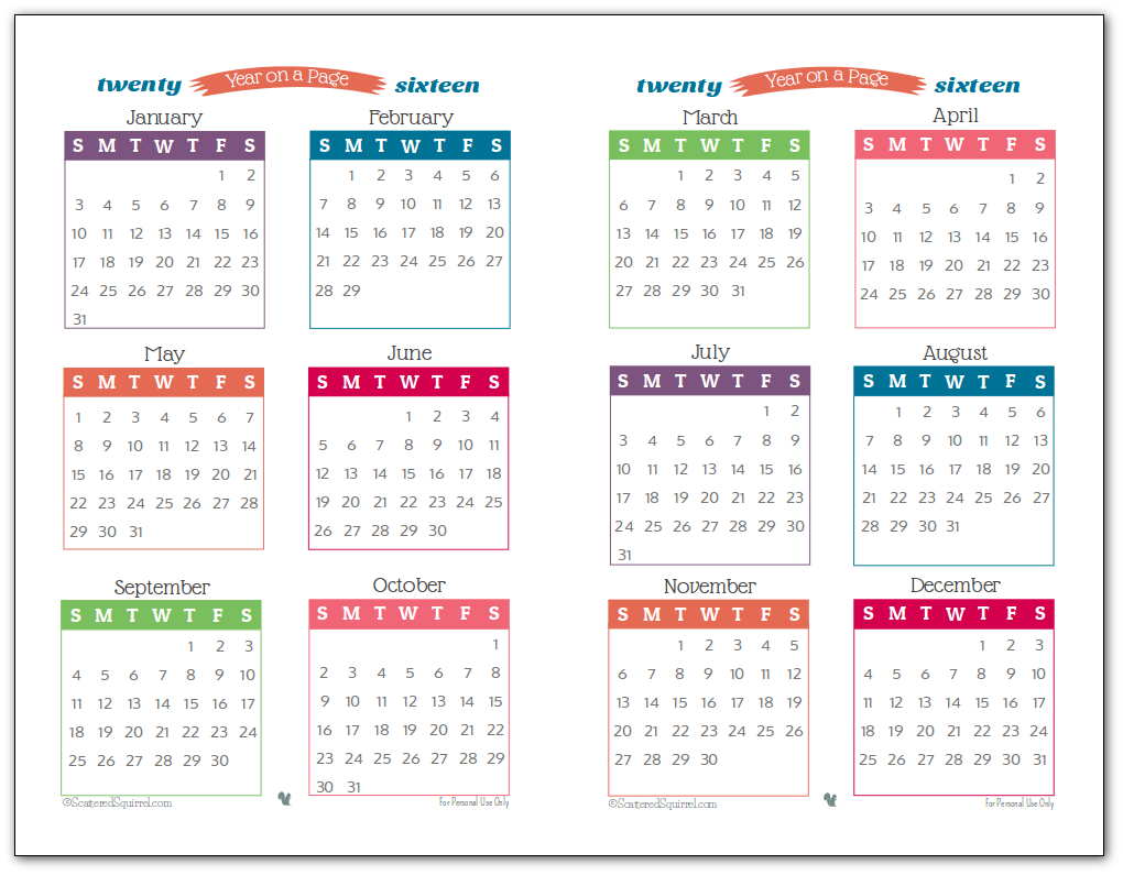 2016 year on page printable calendars are here planners 2016 year on a page printable in half size format perfect for highlighting special printable calendarsmonthly saigontimesfo