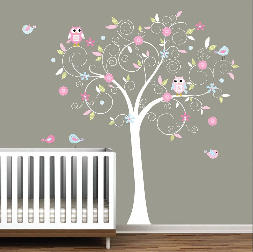 Cartoon Theme Wall Decor Stickers For Baby Room : Nursery Tree Wall Stiker
