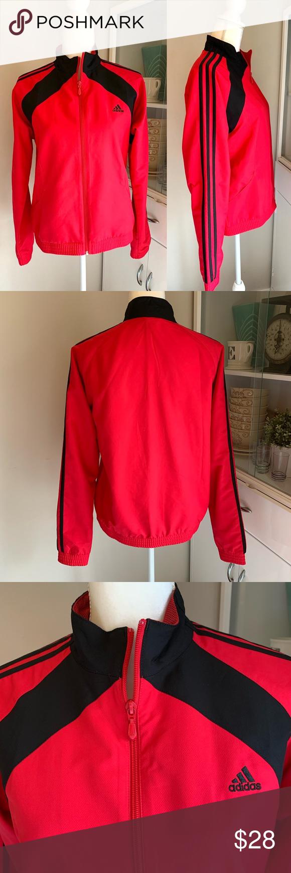 Roux Mezclado dentista  Adidas black/red zip up track jacket in 2020   Black adidas, Red adidas,  Track jackets