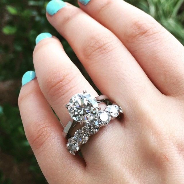 Round Diamond Solitaire Engagement Ring With Huge Eternity Band Perfect