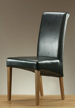 Incredible Scroll Back Black Leather Dining Chair With Solid Oak Legs Machost Co Dining Chair Design Ideas Machostcouk