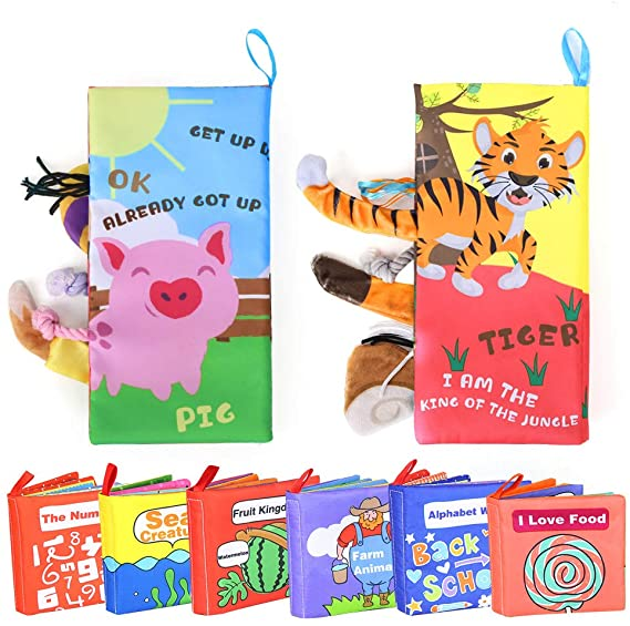[2+6 Pack] Cloth Baby Books Set - Non-Toxic Soft Cloth Book For Infants Educational Toys, With Crinkly Sounds, First Year Touch And Feel For Babies, Baby Books 0-6 Months, 1 Year old, 12-18 Months