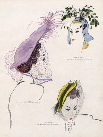 reboux millinery | Mourgue 1947 Reboux, Le Monnier & Maud Roser Hats Fashion Illustration ...