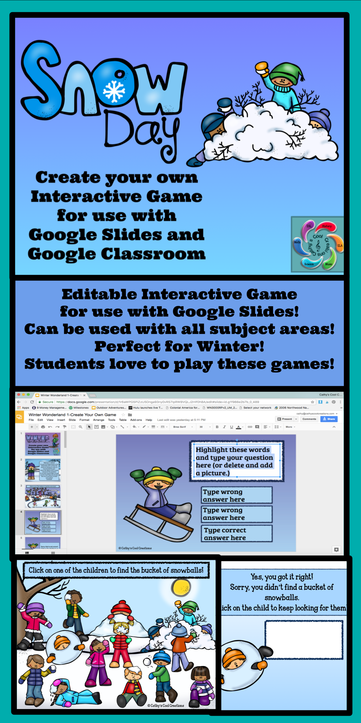 Editable Interactive Game for Google Slides Snow Day