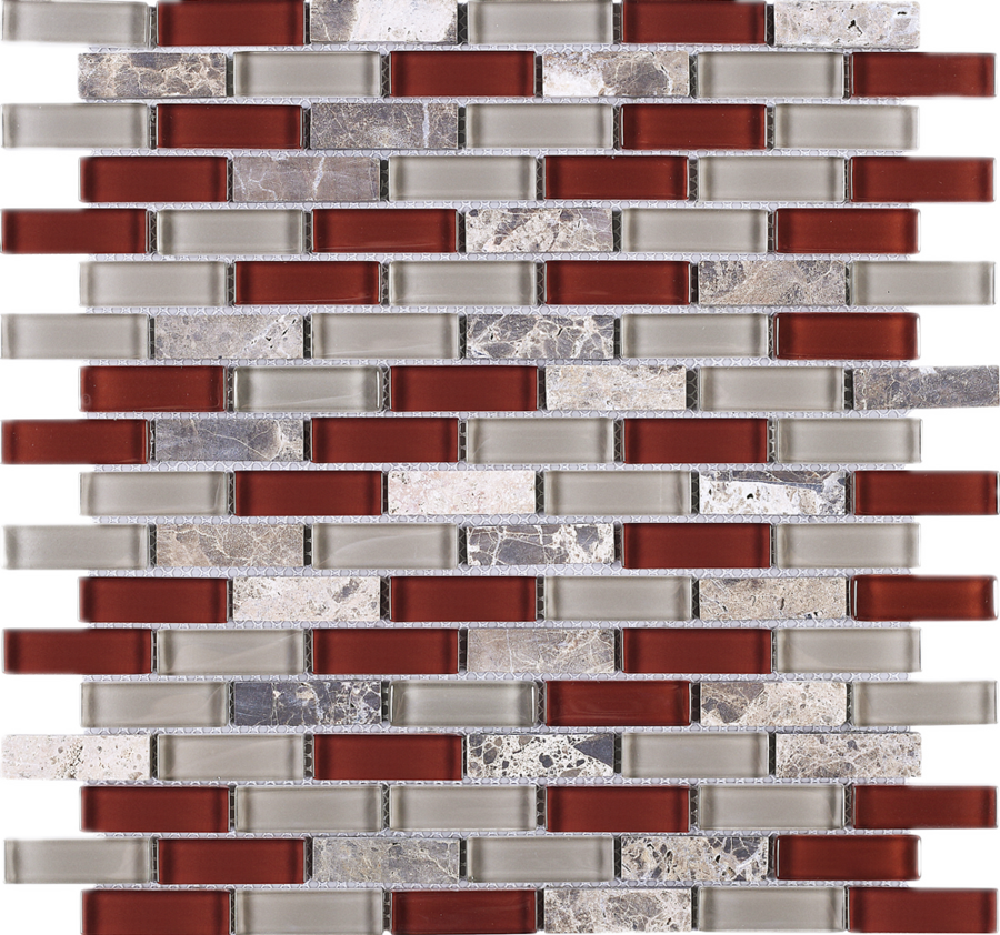 Tbcdg 06 Burgundy Red Mix Gray Brick Glass Mosaic Tile In 2020 Glass Mosaic Tiles Mosaic Glass Red Kitchen